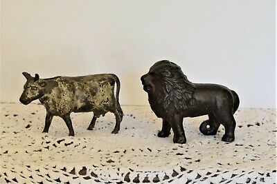 Antique TWO Still Banks, cast Iron  LION AND COW Original Paint 1800's