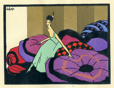 1930s French Pochoir Print Art Deco LAFUGIE Young Woman in Bedroom (S)
