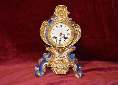 Antique Victorian French Porcelain Handpainted Mantle Clock Quartz A/F