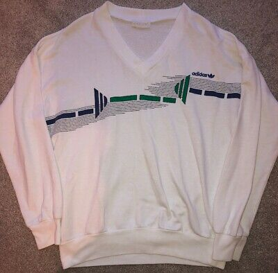 VINTAGE very rare ADIDAS white navy green sweater jumper 80s WEST GERMANY