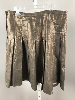 Joseph Skirt Linen Metallic Color Size 38 Ruffle France Button Snap Side Bronze