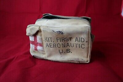 WWII Pilot AERONAUTICAL B17 B24 FIRST AID KIT WITH CONTENTS Dated 1943 Khaki