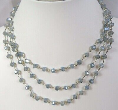 """J26 Pastel Blue Crystal Glass Bead Infinity Strand Necklace 56"""" Wire Knot"""