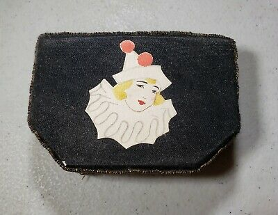 Vintage Antique Early 1900's Cosmetic Makeup Compact w/ Lipstick Female Clown