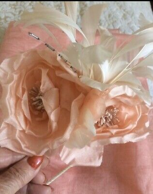 Silk Ivory Peach Coral Fascinator Feathers Wedding Formal Occasion Special Event