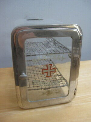 Vintage Antiseptic Medical Barber Sanitary Sterilizer Glass & Metal Case Cabinet