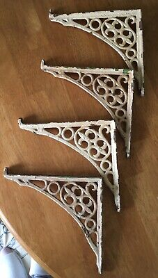 4 (2 Pairs)True Antique Vintage Iron Shabby Chic Cistern Shelf Brackets Holders