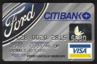 Citibank Ford Automotive (Ford Lincoln Mercury) VISA Credit Card Exp 12/31/96