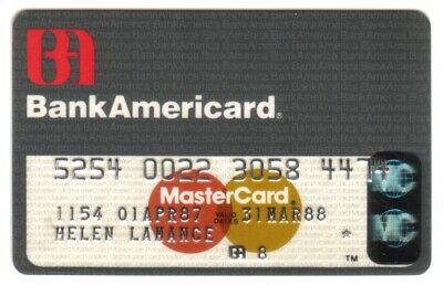 BankAmericard (Bank of America) MasterCard Credit Card Exp 31MAR88