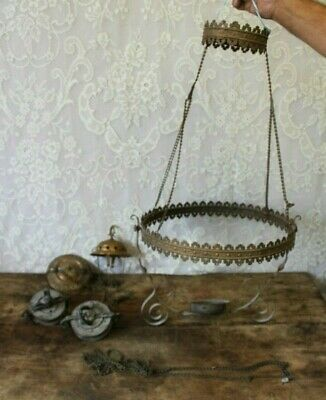 Lot Of Antique Brass Victorian Hanging Lamp Light Parts