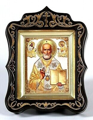 St. Nicholas the Wonder-worker Russian Icon, Gold embossing, arched kyot, stand