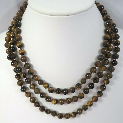 """J26 Brown Tiger Eyes Stone Bead Infinity Strand Necklace58"""" Individual Knot"""