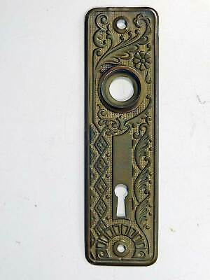 Old Antique Brass Bronze Escutcheon Plate Heavy Pressed Early Unusual Pattern