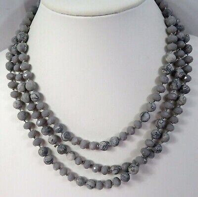 """J26 Gray Stone Crystal Glass Bead Infinity Strand Necklace 60"""" Individ Knot"""
