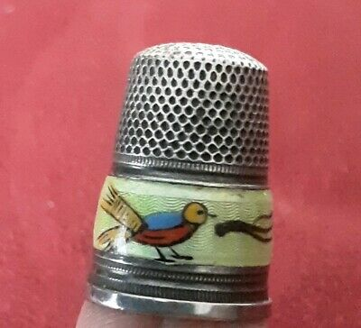Vintage Sterling Silver 925 Thimble Enamel With Bird