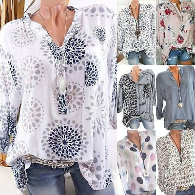Womens Plus Size Boho Floral V Neck Long Sleeve Blouse Loose T-shirt Ladies Tops