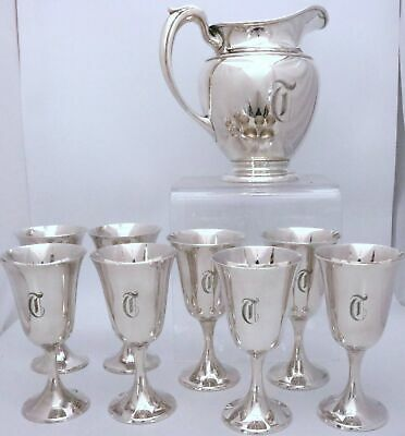 """Sterling Silver Pitcher and Goblets by Gorham 272 Set of 9 Pcs """"T"""""""