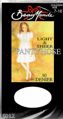 GIRLS Age 7 to 10 Years FLOWER PANTYHOSE TIGHTS STOCKINGS WHITE BALLET NEW