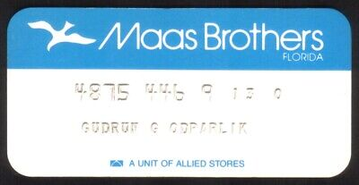Vintage Maas Brothers Florida (Allied Stores) Princess Size Merchant Credit Card