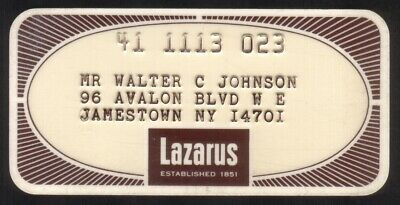 Vintage Lazarus Stores: Princess Size Merchant 30 Day Charge Account Credit Card