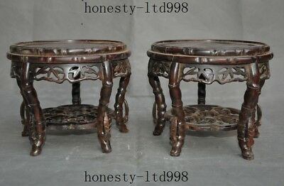China Redwood Wood hand carved leaf ancient Wooden Bench Stool Chair Statue pair