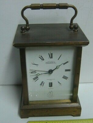 Rare Heavy ERNEST BOREL Electronic 281 Brass Carriage Clock Swiss T Made Lic ATO
