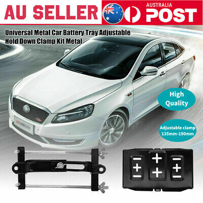 Universal Metal Car Battery Tray Adjustable 135-190mm Hold Down Clamp Kit Metal