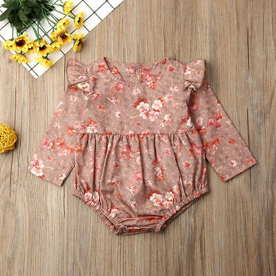 Newborn Baby Girls Clothes Flower Romper Jumpsuit Bodysuit Overall Outfits Set