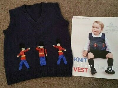 Prince George Baby Boys Knitted Vest Navy with Soldier Pattern Size 18 Months