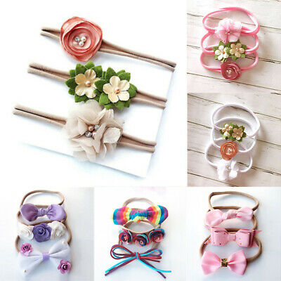 3Pcs Baby Girls Newborn Hairband Bow Elastic Headband Flower Headdress Acces