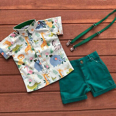 US Infant Baby Boys Kids Summer Clothes T-shirt Tops + Shorts Pants Outfits Set