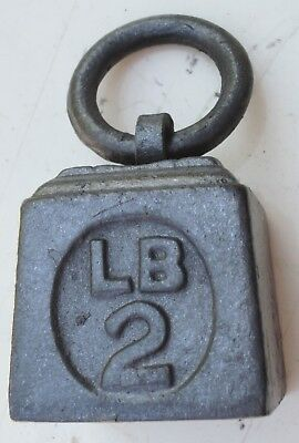 Antique Cast Iron Ring Handled Weight 2lb make unusual Desk Paper Weight (R4286)