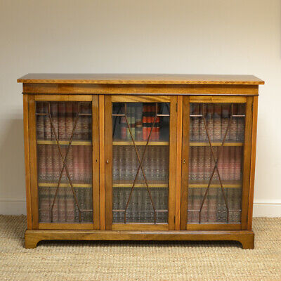 Superb Quality Inlaid Edwardian Figured Mahogany Antique Bookcase