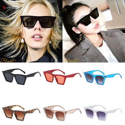 Black Oversized Square Edge Style Cat Eye Flat Lens Sunglasses 400 Uv Free Case