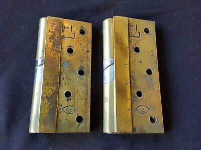 """Antique Pair of Brass & Steel 6"""" Victorian Left Hand Rise & Fall Hinges (ER29)"""