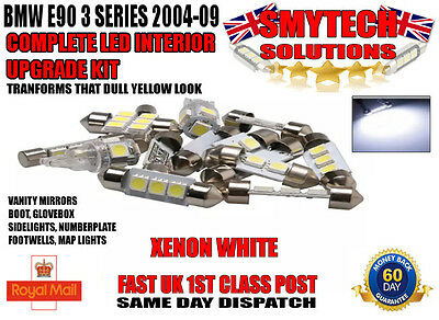 COMPLETE LED INTERIOR UPGRADE KIT X14 LED BULBS BMW E90 3 SERIES 2004-2009.