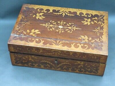 Antique ornate inlaid rosewood writing slope for restoration