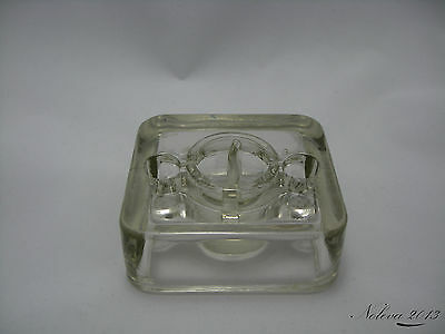 Rare Antique Clear Glass Inkwell