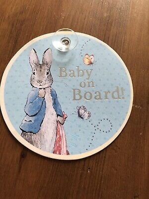Paperchase Peter Rabbit Baby On Board Car Sign Blue