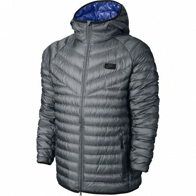 NIKE GUILD 500 Down Hooded Jacket 693533 065 Grey Mens Size