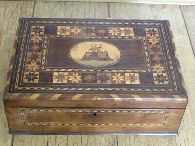 Antique Killarney Type Sewing Workbox Army Military Sea Fort Marquetry Parquetry
