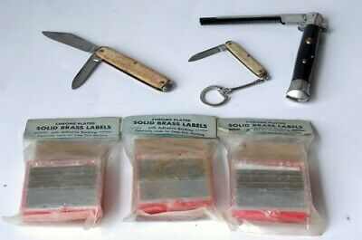 6 x Vintage Chrome Plated Solid Brass Labels From Matronics Co. And Old Knives