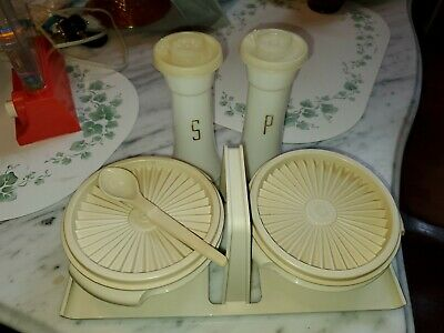 Vintage Tupperware Caddy Salt Pepper Shakers condiment