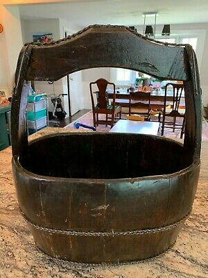 Wonderful Antique Chinese Wood Bucket with Handle 1 of 2