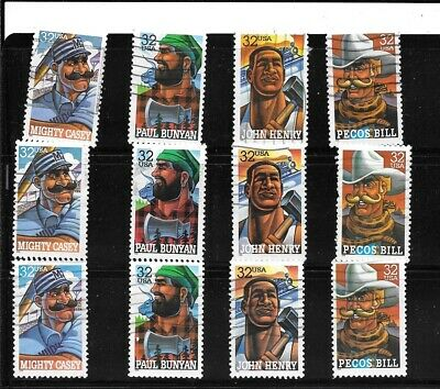 U S Stamps Used 3083 - 3086 Folk Heroes  One(1) Of These Vf Sets