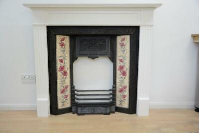 Victorian Fireplace 124cm x 108cm, cast iron insert and honed slate hearth