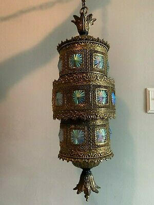 Fantastic Mid Century Hollywood Regency Hanging Lamp with Iridescent Glass