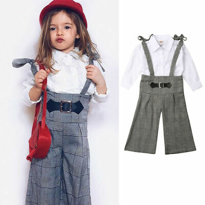 2pcs Toddler Kids Baby Girl Clothes Tops T Shirt Braces Plaids Overal Pants