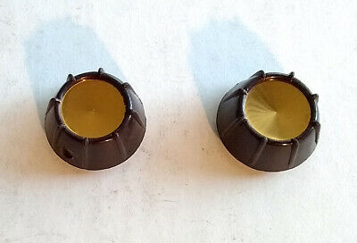2 (Two) New Vintage Radio, Stereo Audio Equipment Knobs Dark Brown Gold