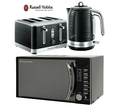 Russell Hobbs Inspire Kettle, 4 Slot Toaster and Microwave - Black